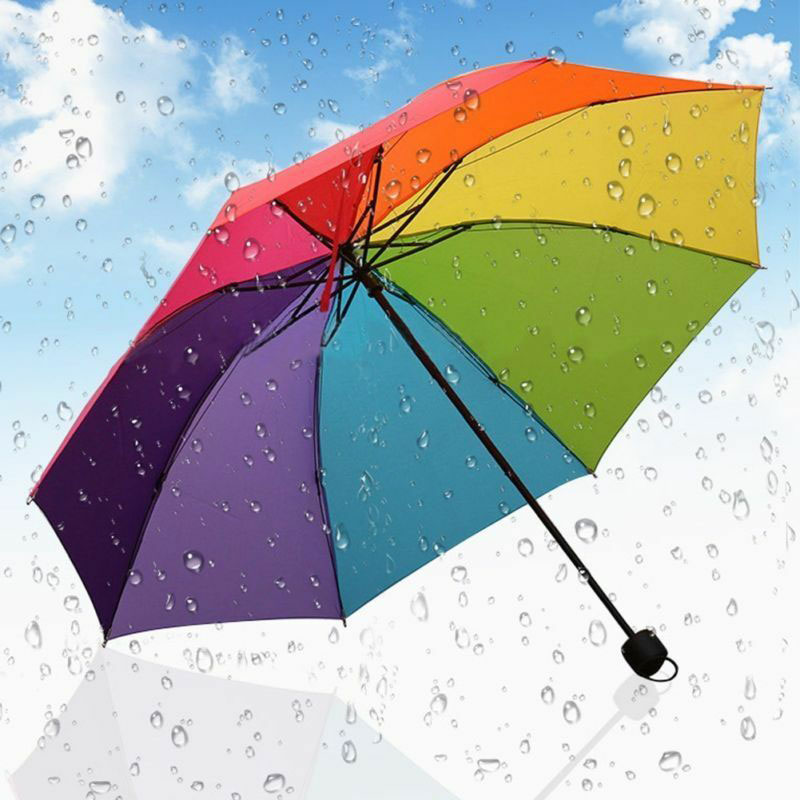 Adultos crianças guarda-chuva colorido guarda-chuva popular criativo arco-íris dobrável crianças proteção de chuva três guarda-sóis dobráveis