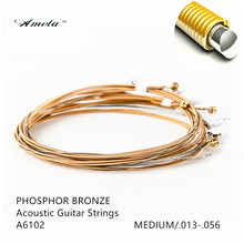 Amola A6102 Acoustic Guitar Strings Phosphor Bronze With  Coating Medium 013-056 Wound Guitar Strings 1 Sets