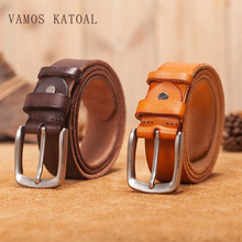 VAMOS KATOAL men's belt leather belt men male genuine leather strap luxury pin buckle fancy vintage jeans cintos masculinos