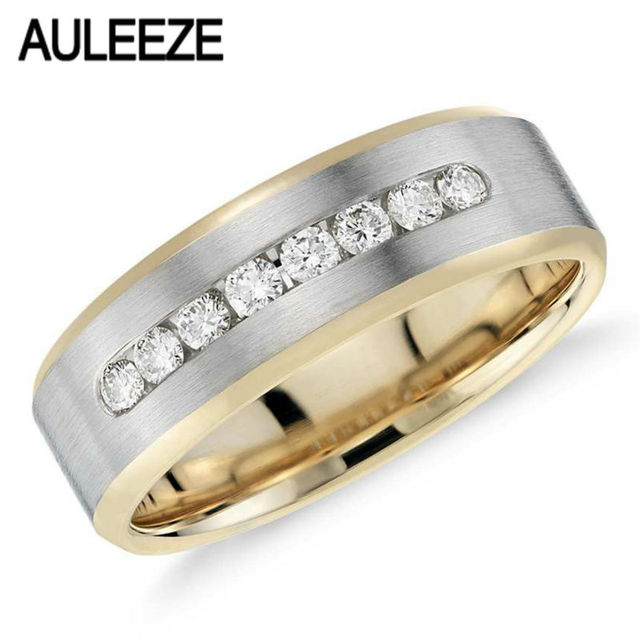 Two Tone 14k Gold Engagement Wedding Band Channel Set Moissanites Lab Grown Diamond Ring 585