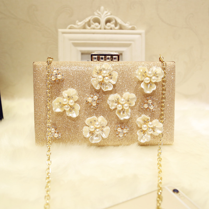 Its Yiiya Champagne gold Clasp closure Glitter Floral Rhinestone Beaded Crystal Evening Bags party Clutch pearling Purse HB041