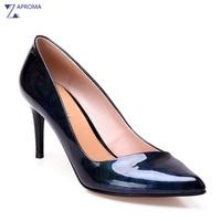 2018 New Design European Style Spring Women Pointed Toe Pumps Thin Heel Black Blue Green Sky