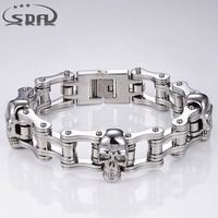 120g Charms 316L Stainless Steel Link Chain Skull Mens Bracelet Two Type High Quality Mens Bangles