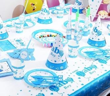 Babypartydekorationen Für Jungen   Blau Baby Jungen Thema Party Papier Fahnen Neugeborenen Baby Shower Party Dekoration Papier Bunting Wimpel
