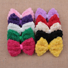 (120pcs/lot)10Colors Artificial Baby Girls/Women Winter Hair Accessories High Quality Handmade Fashion Big Soft Lace Hair Bows