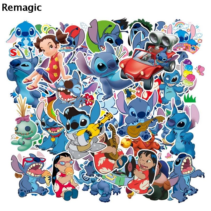 55pcs Lilo stitch cartoon cute anime movie funny decals scrapbooking diy decoration phone laptop waterproof decorations