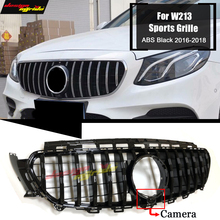 For MercedesMB W213 Sports Front Grill Grille With Camera GT R Style ABS Black E Class E200 E250 Without Sign 16-18