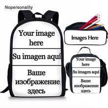 Nopersonality Customize Your Image School Bag Set for Teenager Boys Girls Cartoon Kids Schoolbag Children Bookbag Dropshipping