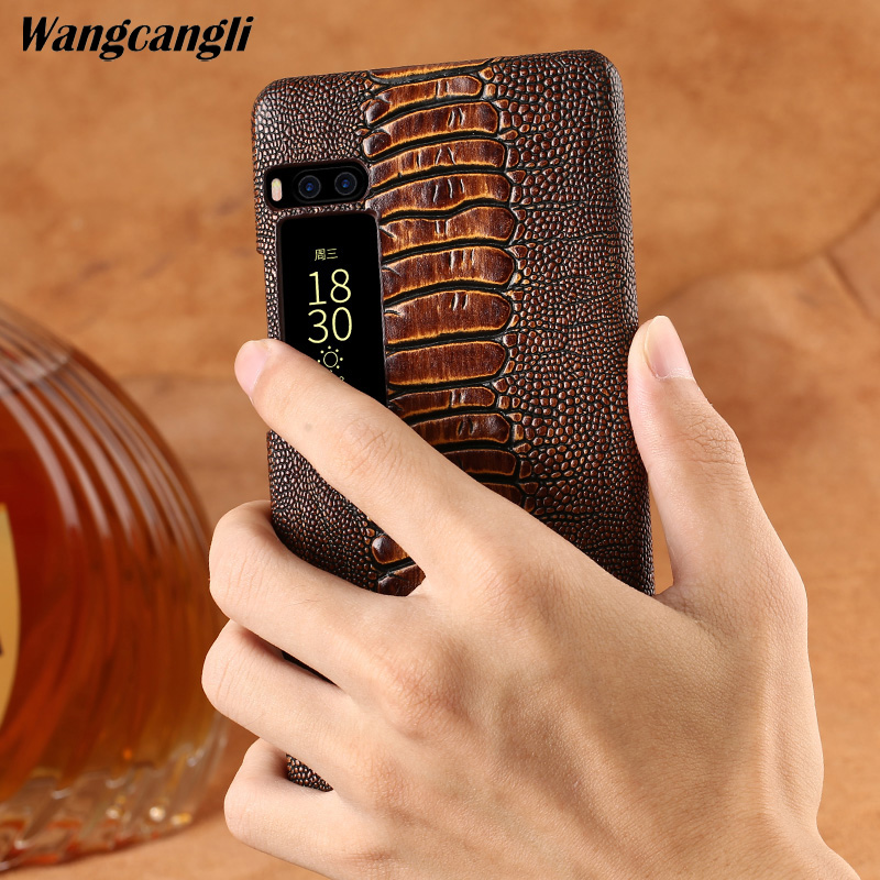 Genuine leather phone case for Meizu Pro 7 Cowhide ostrich foot texture phone case for meizu series phone protection caseGenuine leather phone case for Meizu Pro 7 Cowhide ostrich foot texture phone case for meizu series phone protection case