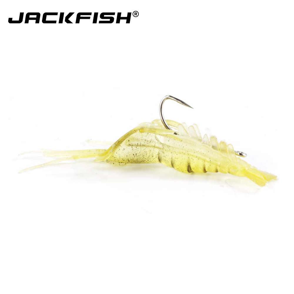 JACKFISH 10 قطعة/الوحدة 4 سنتيمتر لينة الاصطناعي مريب الروبيان إغراء مع هوك نابض بالحياة الصيد السحر الجمبري لينة الصيد الطعم الصيد معالجة
