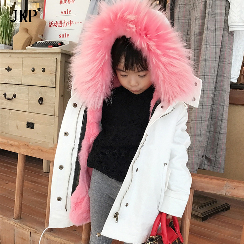 winter children army parka jacket rex rabbit fur lining warm thick baby boys girls raccoon fur collar kids fur outerwear&coat