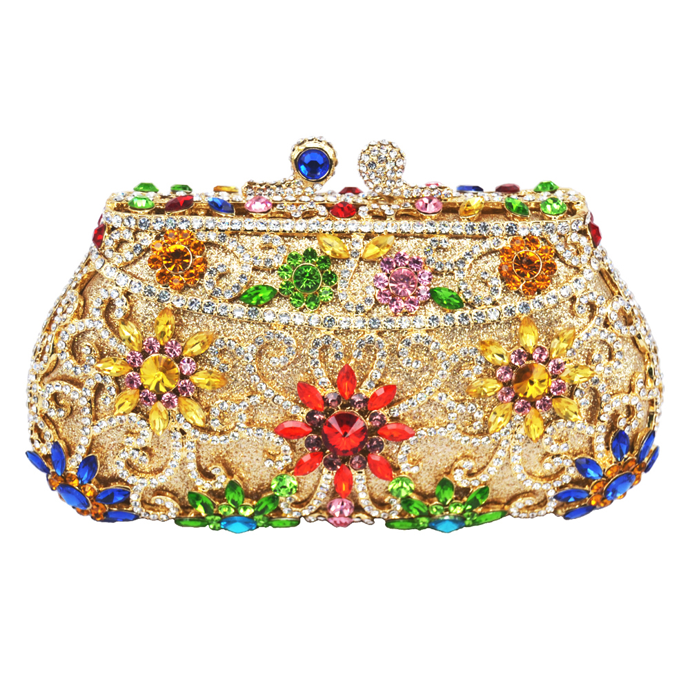 ФОТО LaiSC Rose Flower Crystal Evening Bag Nuptial Bridal Wedding Clutch Purse Party Pochette Female Floral Evening Clutches Bag 293