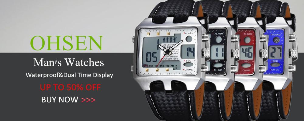 лучшие продажи ohsen совершенно цифровой кварц модные черные для мужчин наручные часы 30 м водонепроницаемый резинкой жк-дисплей спортивный мужской подарок часы дель'оролоджо уомо