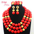 African Wedding Red Coral Beads Big Nigerian Round Bead Jewelry Set African Costume Coral Jewelry Set Free Shipping E1079