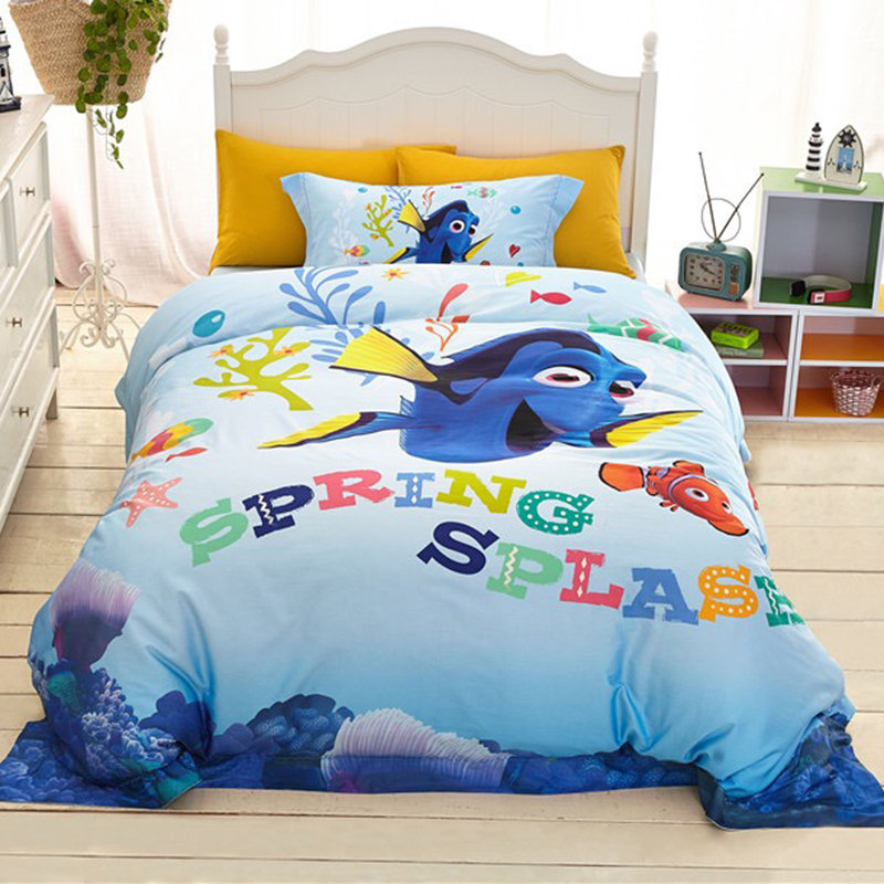 DISNEY Finding Nemo Cartoon Bedding Sets 100% Cotton Duvet Cover Sheet Set Single Queen Size Kids BeddingsDISNEY Finding Nemo Cartoon Bedding Sets 100% Cotton Duvet Cover Sheet Set Single Queen Size Kids Beddings
