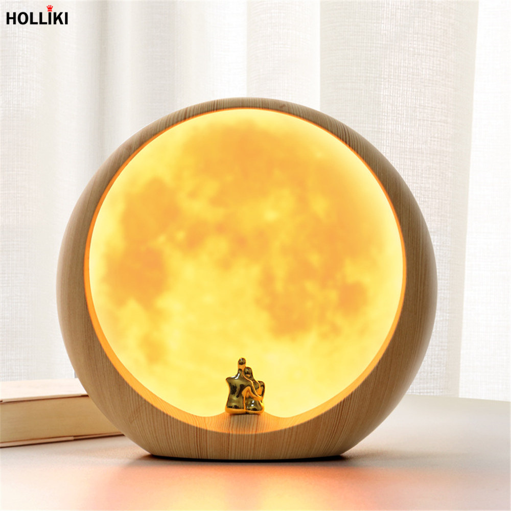 18cm Rechargeable LED Moon Lamp Night Light USB Charging Touch Switch Novelty Lamps Night Lights for Christmas Gift Home Decor