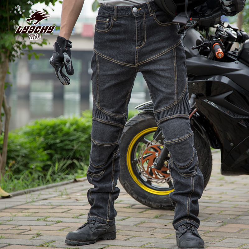 LYSCHY Men's Motorcycle Jeans Casual Pants Moto biker Jeans Motocross Off-Road Knee Protective Moto Elasticity Jeans Trousers duhan men s motorcycle jeans motorbike riding biker trousers denim motorcycle pants men moto pants knee guards protective gear