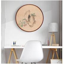 20 31.5 40 50cm moldura redonda 20 Polegada madeira sala de estar criativo parede pendurado tamanho grande quadro de imagem decoração da parede de madeira
