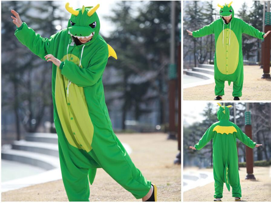 Animal Costume Cosplay Adult  Pyjamas JP Animal Blue Yellow Dragon  Dinosaur Kangaroo Giraffe Bear Lion Pajamas
