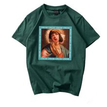 Mens T-Shirt Summer Hip-Hop Casual Cotton Top Funny Virgin Mary Print Short Sleeve 2019 Street Costume