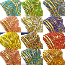 SS6 2mm 5yards/lot colorful glass crystal Rhinestone Chain,gold bottom sew on Cup Chains For diy Garment Bags decorations ZLG06