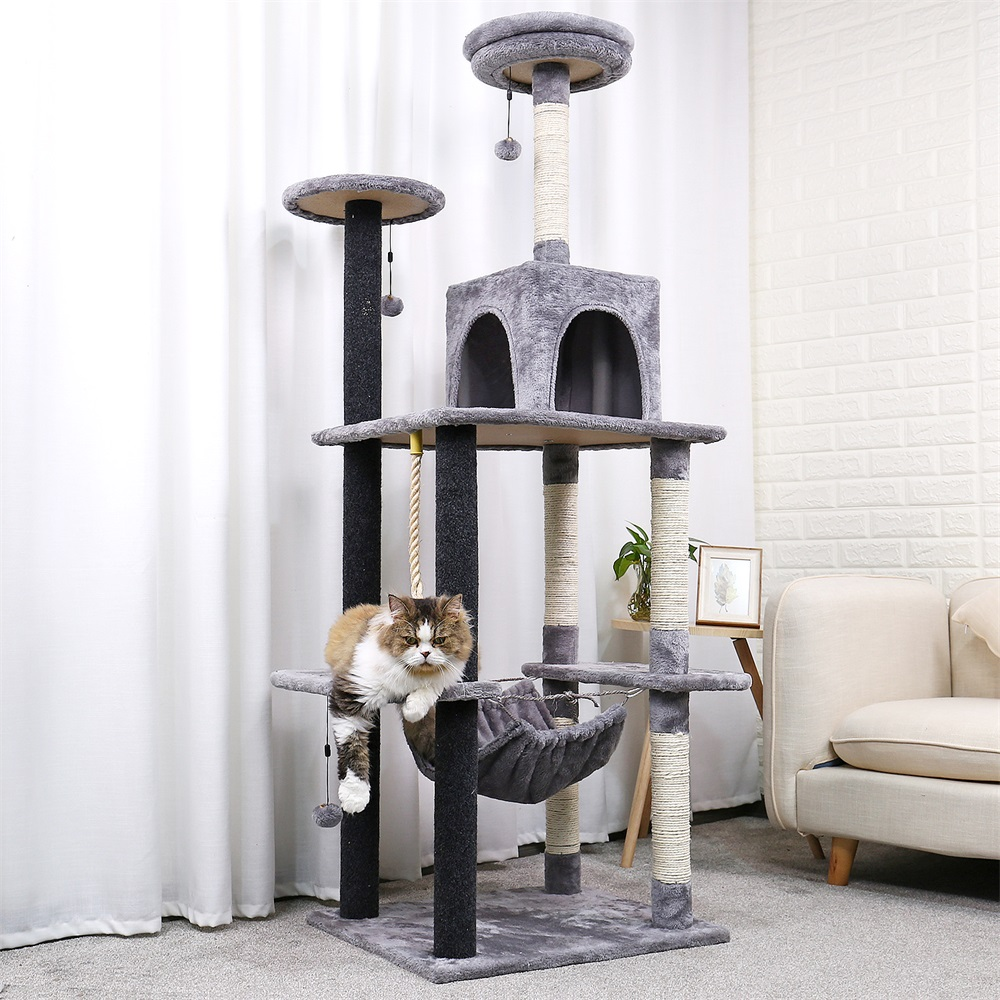 178cm Luxury Cat Scratching Post Stor Klättra Ram För Cat KitternToys House Multifunktionell Cat Tree Board Condo Furniture