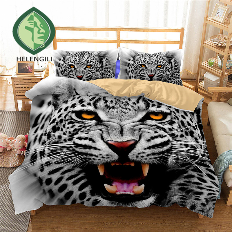 3D Bedding Set snow Leopard Print Duvet cover set Twin queen king bedclothes with pillowcases bed set home Textiles #23D Bedding Set snow Leopard Print Duvet cover set Twin queen king bedclothes with pillowcases bed set home Textiles #2