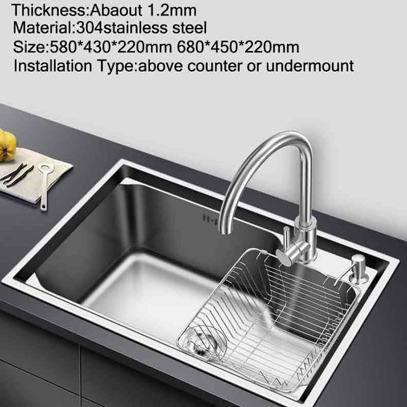 Permalink to kitchen sink above counter or udermount sinks vegetable washing basin stainless steel single bowl 1.2mm thickness sinks kitchen