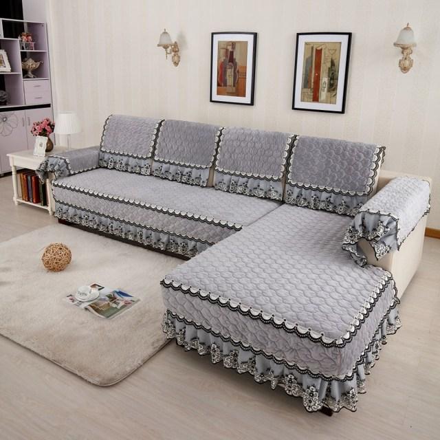 European Lace Plush Sofa Sets High   Class Thick Soft Non Slip Sofa Cover  Cushion Home