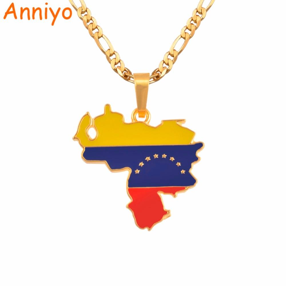 Anniyo Venezuela Map & Flag Pendant Necklace for Women/Men Gold Color Jewelry Venezuelan Items #116206 anniyo turkey map