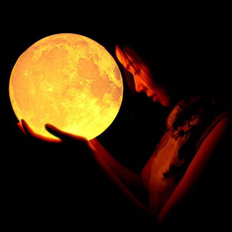 Home 3D Printing 400lm LED Beam Moon Luna Night Light LED Lamp Birthday Gift Home Party  ...