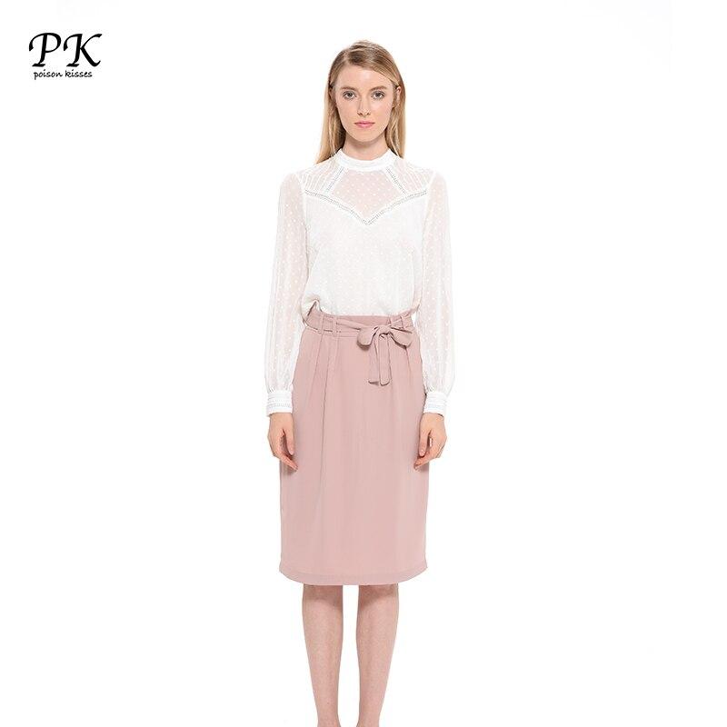 PK 2017 automne dentelle femmes Blouses lanterne à manches longues évider élégant à pois Sexy femmes chemises Top tenue de bureau Femme