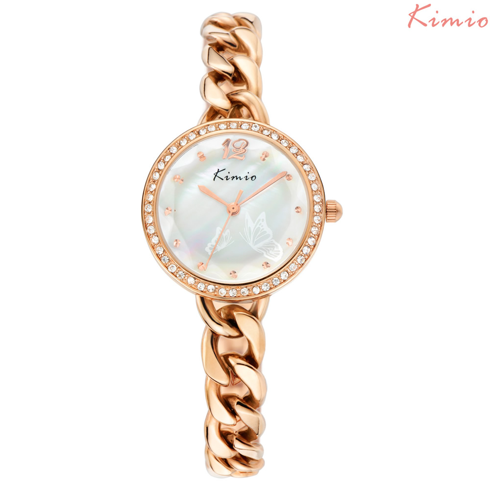 KIMIO Luxury Butterfly Pattern Women Quartz Watches Brand Gold Bracelet Ladies Dress Watch Fashion WristWatch Relogio Feminino kimio brand bracelet watches women reloj mujer luxury rose gold business casual ladies digital dial clock quartz wristwatch hot