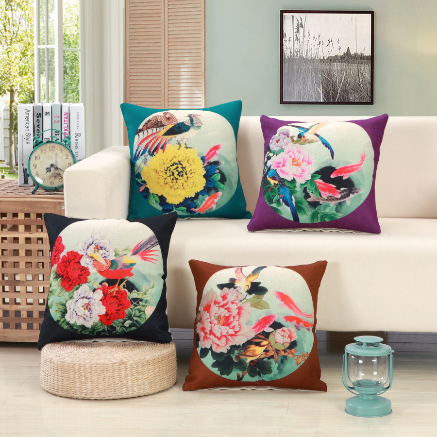 Peony And Magpies Pattern Decorative Pillow Covers Chinese Classic Style  Vintage Cushion Covers Cotton Linen Square