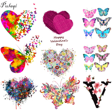 Pulaqi Love Butterfly Heat Transfer Iron On Patch For Clothes Sticker A-level Washable Easy Print By Household Irons Applique F