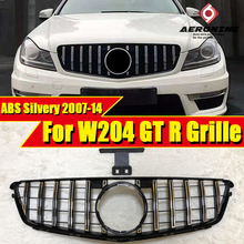 C Class W204 C63 look grille grill Silver&Chrome C180 C200  C250 C300 Sports Front Bumper Grills GT R style without sign 2007-14