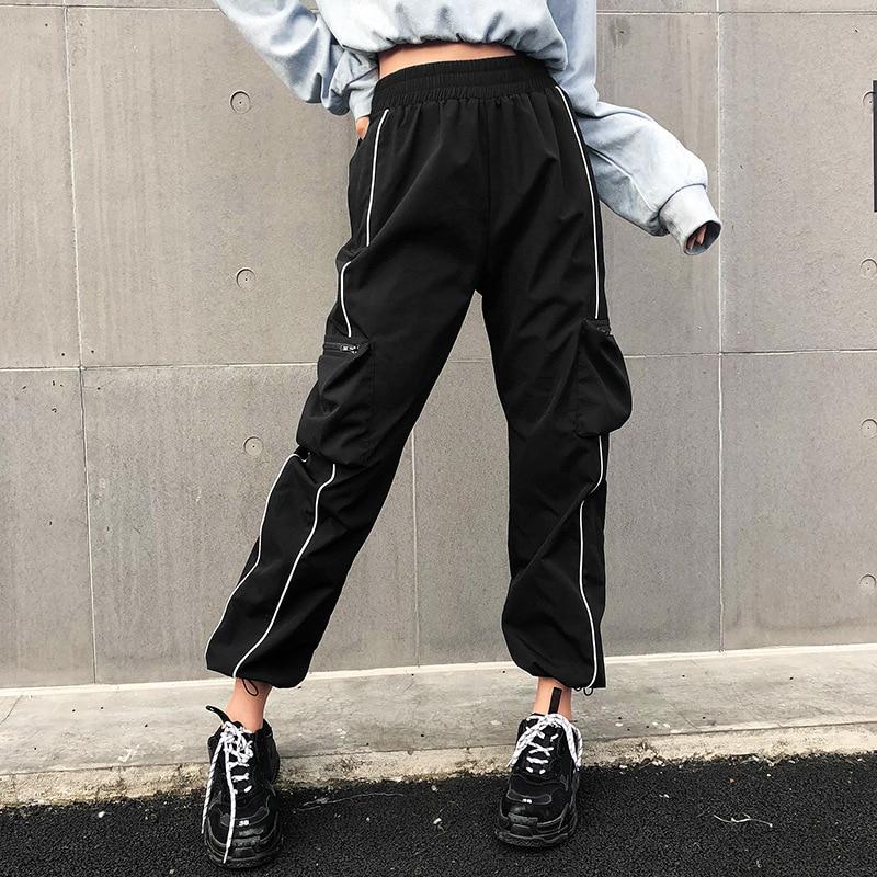 High Waist   Pants     Capris   Women Harajuku Casual Black Cargo   Pants   Streetwear Korean Sweatpants Joggers