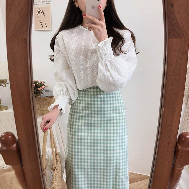 Embroidery Lace Shirt Spring femme Casual white Tops Women Long sleeve Linen Cotton Girls Blouse Plus Size Women Blouses femme 4