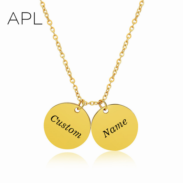 name words engraved gold color discs chokers personalized custom