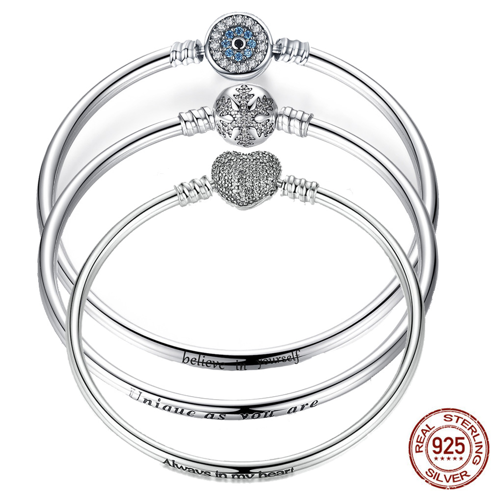 BISAER 925 Sterling Silver Pulseira Snowflake Bangles 925 Heart Snake Chain Clasp femme Silver bracelet for Women JewelryBISAER 925 Sterling Silver Pulseira Snowflake Bangles 925 Heart Snake Chain Clasp femme Silver bracelet for Women Jewelry