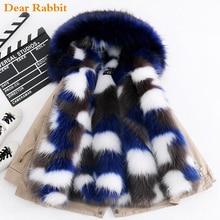 Модное зимнее Детское пальто с искусственным лисьим мехом детская одежда для мальчиков и девочек плотная теплая куртка с капюшоном, верхняя одежда, парка зимний комбинезон