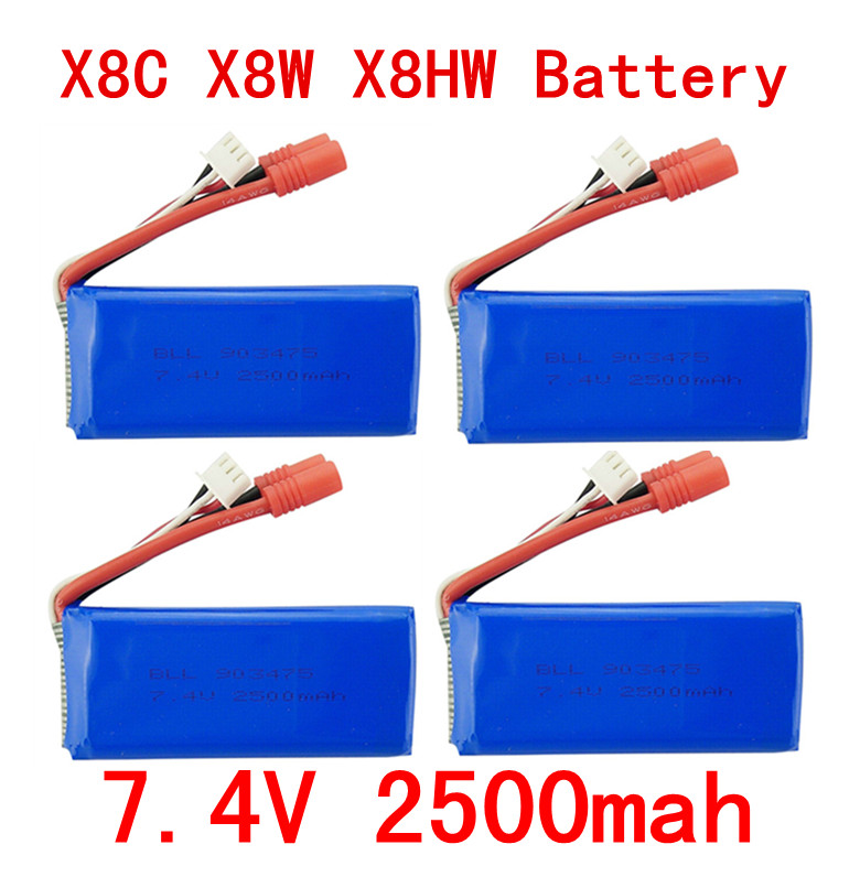 цена на 4PCS New big battery Syma X8C X8W X8G X8HC X8HG X8HW 2S 7.4V 2500mAh 25C Lipo Battery Helicopter Battery