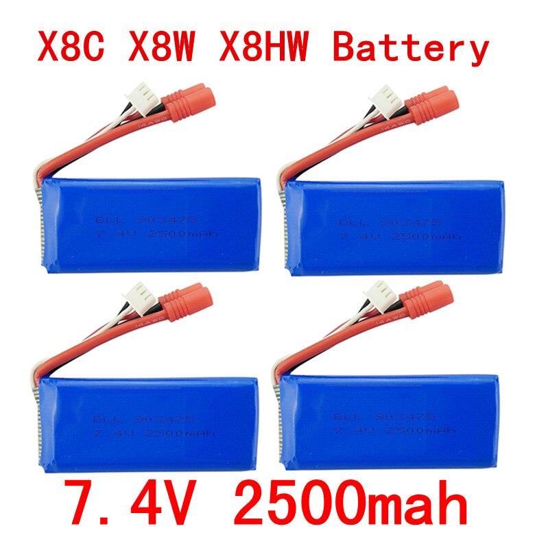 4PCS New big battery Syma X8C X8W X8G X8HC X8HG X8HW 2S 7.4V 2500mAh 25C Lipo Battery Helicopter Battery