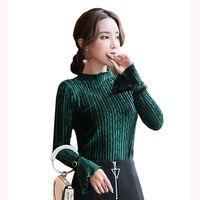 2018 spring fashion women's T shirt self cultivation shirt Gold velvet long sleeve solid color women's T shirt plus size S XXL