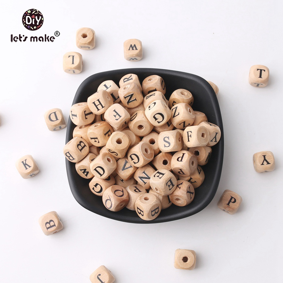 Lets Make Baby Teething Crib Toy 12mm Square Shape Beech Wood Letter Beads 20pc Teething Jewelry DIY Crafts Chew Beads