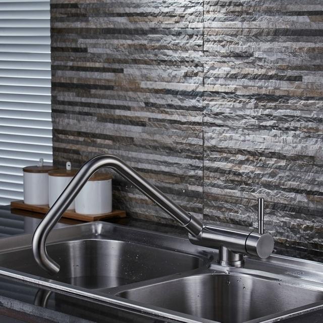 Quyanre Matte Black Inner Window Folding Kitchen Faucet 360 Rotation Stainless Steel Lead Free Bathroom Sink Faucet Mixer Tap