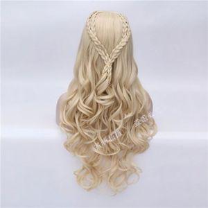 Image 4 - Daenerys Targaryen Cosplay Wig Dragon Mother Long Wavy Blonde Hair Wigs Halloween Party Costume Wig