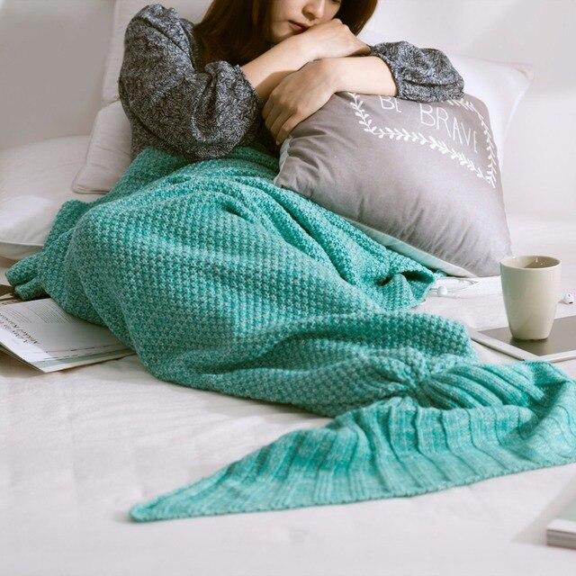 Buy One Get One Free Cushion Mermaid Tail Blanket Yarn Knitted