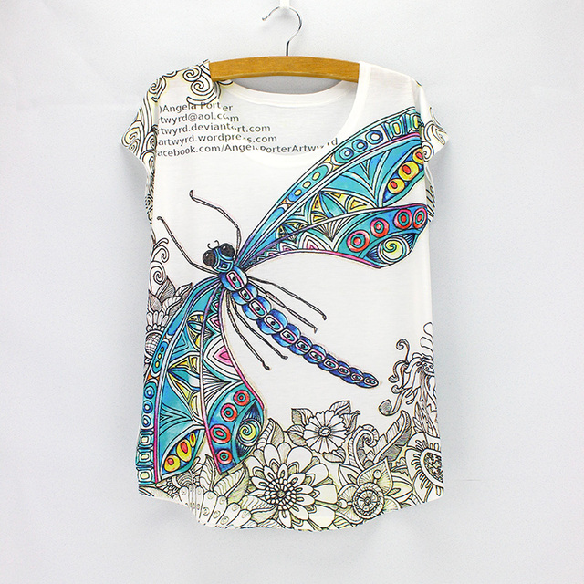 d3d8812ef96d0 US $5.6 5% OFF|Vintage Dragonfly printed tees women summer tees 2016  fashion designer t shirts girls tops wholesale free shipping-in T-Shirts  from ...
