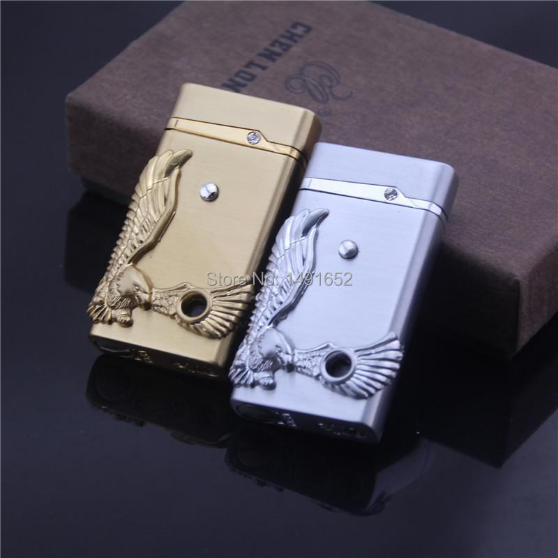 Gas refillable CL623 eagle feathers electronic sensor windproof lighter Smoking cigarette lighter Portable Flame Lighter